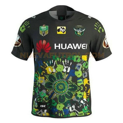 camiseta rugby canberra raiders 2018 negro verde hombre